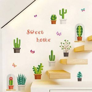 decalmile Cactus Plantes Stickers Muraux Amovible DIY Stickers Nature Salon Chambre Autocollant Décoration Murale de la marque decalmile image 0 produit