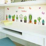 decalmile Cactus Plantes Stickers Muraux Amovible DIY Stickers Nature Salon Chambre Autocollant Décoration Murale de la marque decalmile image 3 produit