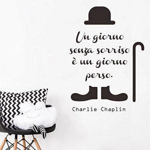 decalmile Charlie Chaplin Stickers Muraux Citation et Lettres Un Giorno Senza Un Sorriso è Un Giorno Perso Amovible Autocollant Stickers pour Chambre Salon de la marque decalmile image 0 produit
