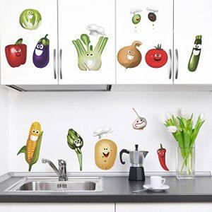 decalmile Légumes Cuisine Stickers Muraux Drôles Maïs Chili Fruits Amovible Vinyle Stickers Muraux pour Cuisine Salle À Manger de la marque decalmile image 0 produit