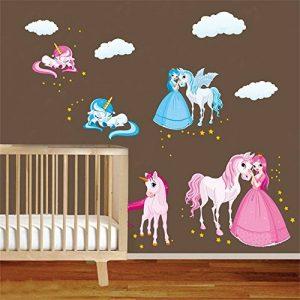 decalmile Licorne Conte De Fée Princesse Stickers Muraux Nuage Cheval Amovible Autocollant Stickers pour Chambre Bébé Chambre Enfant Chambre Pépinière de la marque decalmile image 0 produit