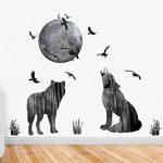 decalmile Loup Lune Oiseaus Stickers Muraux Amovible DIY Salon Chambre Autocollant Décoration Murale de la marque decalmile image 3 produit