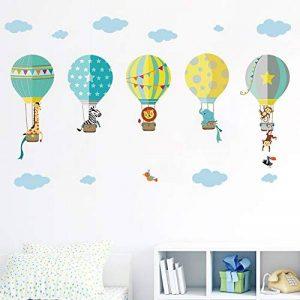 decalmile Montgolfière Animaux Stickers Muraux Girafe Zebra Amovibles Autocollants Chambre Enfants Bébé Garderie Salon Décoration Murale de la marque decalmile image 0 produit