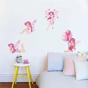 decalmile Rose Stickers Muraux Fées Amovible Vinyle Autocollant Stickers pour Chambre Bébé Fille Chambre Enfant de la marque decalmile image 0 produit