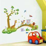 decalmile Sticker Muraux Animaux de la Jungle Autocollant Mural Arbre Lion Girafe Éléphant Chambre Enfants Bébé Salon Décoration Murale de la marque decalmile image 1 produit