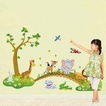 decalmile Sticker Muraux Animaux de la Jungle Autocollant Mural Arbre Lion Girafe Éléphant Chambre Enfants Bébé Salon Décoration Murale de la marque decalmile image 2 produit