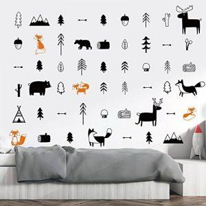 decalmile Stickers Animaux des Bois Cerfs Renards Arbre Autocollants Muraux Mural Enfants Chambre Bébé Garderie Décoration Murale de la marque decalmile image 0 produit