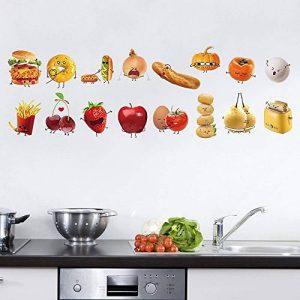 decalmile Stickers Cuisine Aliments Emoji Autocollant Décoration Murale Amovible DIY La Cuisine Salle A Manger Stickers Muraux Deco de la marque decalmile image 0 produit