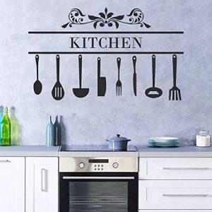 decalmile Stickers Cuisine Couteau Fourchette Cuillère Cuisine Decoration Murale Vinyle Amovible Autocollants Muraux de la marque decalmile image 0 produit