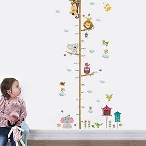 decalmile Stickers Muraux Animaux Hauteur Croissance de Mesure Tableau Autocollant Mural Eléphant Singe Oiseau Chambre Bébé Enfants Salon Décoration Murale de la marque decalmile image 0 produit