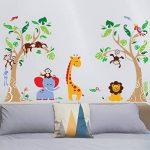 decalmile Stickers Muraux Arbre et Animaux de la Jungle Autocollant Décoratifs Singe Girafe Éléphant Décoration Murale Chambre Enfants Bébé Pépinière de la marque decalmile image 2 produit