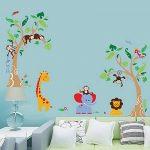 decalmile Stickers Muraux Arbre et Animaux de la Jungle Autocollant Décoratifs Singe Girafe Éléphant Décoration Murale Chambre Enfants Bébé Pépinière de la marque decalmile image 3 produit