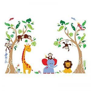 decalmile Stickers Muraux Arbre et Animaux de la Jungle Autocollant Décoratifs Singe Girafe Éléphant Décoration Murale Chambre Enfants Bébé Pépinière de la marque decalmile image 0 produit