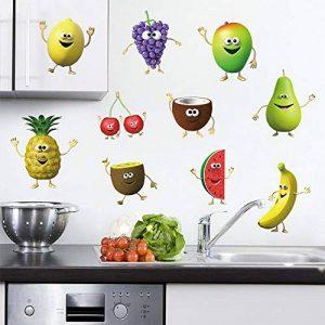 decalmile Stickers Muraux Cuisine Fruit Autocollant Décoratifs Banane Citron Mangue Emoji Décoration Murale Frigo Cuisine Salle à Manger de la marque decalmile image 0 produit