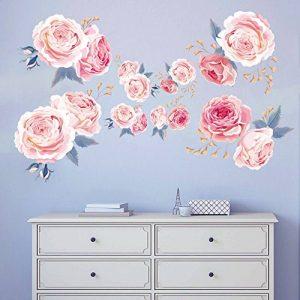 decalmile Stickers Muraux Fleurs des Roses Rose Romantique Amovible Autocollant Décoration Murale pour Salon Chambre de la marque decalmile image 0 produit