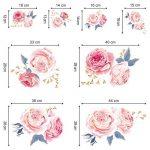 decalmile Stickers Muraux Fleurs des Roses Rose Romantique Amovible Autocollant Décoration Murale pour Salon Chambre de la marque decalmile image 4 produit