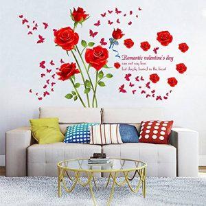 decalmile Stickers Muraux Fleurs des Roses Rouge Romantique Amovible Autocollant Décoration Murale pour Salon Chambre de la marque decalmile image 0 produit