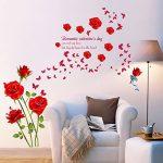 decalmile Stickers Muraux Fleurs des Roses Rouge Romantique Amovible Autocollant Décoration Murale pour Salon Chambre de la marque decalmile image 1 produit