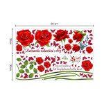 decalmile Stickers Muraux Fleurs des Roses Rouge Romantique Amovible Autocollant Décoration Murale pour Salon Chambre de la marque decalmile image 3 produit