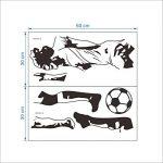 decalmile Stickers Muraux Football Noir Blanc Silhouette Arborer Amovible Vinyle Autocollant pour Salon Chambre de la marque decalmile image 3 produit