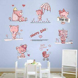 decalmile Stickers Muraux Ours en Peluche Rose Autocollant Mural Bébé Chambre Enfants Fille (6 Ours, Chaque Taille: 30X25cm) de la marque decalmile image 0 produit