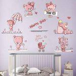 decalmile Stickers Muraux Ours en Peluche Rose Autocollant Mural Bébé Chambre Enfants Fille (6 Ours, Chaque Taille: 30X25cm) de la marque decalmile image 1 produit