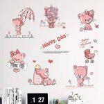 decalmile Stickers Muraux Ours en Peluche Rose Autocollant Mural Bébé Chambre Enfants Fille (6 Ours, Chaque Taille: 30X25cm) de la marque decalmile image 2 produit
