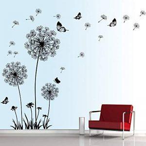 decalmile Stickers Muraux Pissenlit et Papillon Autocollant Mural Chambre Salon Bureau Décoration Murale (Noir) de la marque decalmile image 0 produit