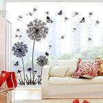 decalmile Stickers Muraux Pissenlit et Papillon Autocollant Mural Chambre Salon Bureau Décoration Murale (Noir) de la marque decalmile image 1 produit