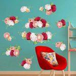 decalmile Stickers Muraux Rose Romantique Autocollant Mural Fleur Chambre Salon Mur Art Décor de la marque decalmile image 1 produit