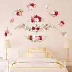 decalmile Stickers Muraux Rose Romantique Autocollant Mural Fleur Chambre Salon Mur Art Décor de la marque decalmile image 2 produit