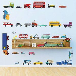 decalmile Transports Stickers Muraux Enfant Autocollants Mural Chambre Bébé Garçon Garderie Salle de Jeux Décoration Murale de la marque decalmile image 0 produit