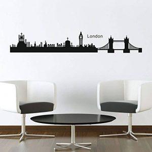 declamile Londres Skyline Sticker Mural Amovible DIY Autocollant Stickers Muraux Noir pour Enfants Chambre Salon de la marque declamile image 0 produit