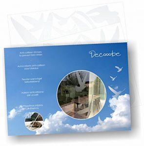 Decooo.be Autocollants Anti-Collision pour Oiseaux - Haute résistance à la Pluie, Gel, UV's (Set de 17 Silhouettes d'oiseaux Sablés-dépolis-translucides) de la marque Decooo-be image 0 produit