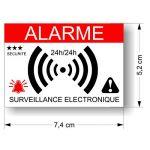 Decooo.be - Autocollants dissuasifs Alarme - Système électronique - Lot de 12 - Dimensions 7,4 x 5,2 cm de la marque Decooo-be image 1 produit