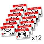 Decooo.be - Autocollants dissuasifs Alarme - Système électronique - Lot de 12 - Dimensions 7,4 x 5,2 cm de la marque Decooo-be image 2 produit