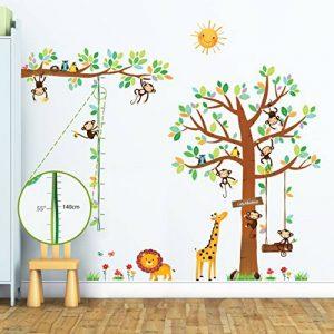 Decowall DA-1401P1402 8 Petits Singes Arboricoles et Ruban Mesureur Autocollants Muraux Mural Stickers Chambre Enfants Bébé Garderie Salon de la marque Decowall image 0 produit
