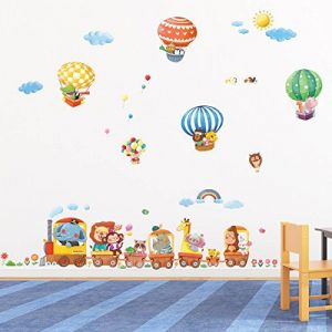 DECOWALL DA-1406 Train Animaux & Montgolfières Autocollants Muraux Mural Stickers Chambre Enfants Bébé Garderie Salon de la marque Decowall image 0 produit