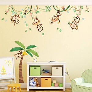 Decowall DA-1507 Singes sur Vigne Autocollants Muraux Mural Stickers Chambre Enfants Bébé Garderie Salon de la marque Decowall image 0 produit
