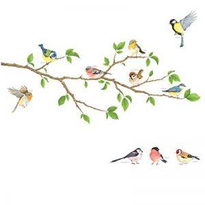 DECOWALL DA-1804 Oiseaux de Jardin sur la Branche D'arbre Animaux Autocollants Muraux Mural Stickers Chambre Enfants Bébé Garderie Salon de la marque Decowall image 0 produit