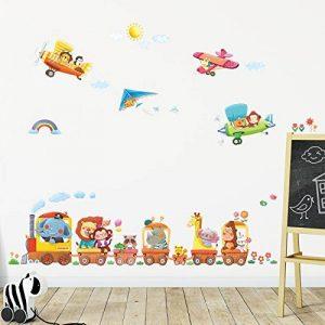 Decowall DAT-1406A1506B Train Animaux & Biplans Autocollants Muraux Mural Stickers Chambre Enfants Bébé Garderie Salon de la marque Decowall image 0 produit