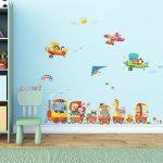 Decowall DAT-1406A1506B Train Animaux & Biplans Autocollants Muraux Mural Stickers Chambre Enfants Bébé Garderie Salon de la marque Decowall image 1 produit