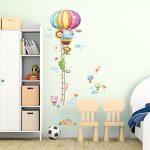 Decowall DAT-1606N Ruban Mesureur Montgolfière Animaux Autocollants Muraux Mural Stickers Chambre Enfants Bébé Garderie Salon de la marque Decowall image 2 produit