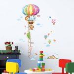 Decowall DAT-1606N Ruban Mesureur Montgolfière Animaux Autocollants Muraux Mural Stickers Chambre Enfants Bébé Garderie Salon de la marque Decowall image 3 produit