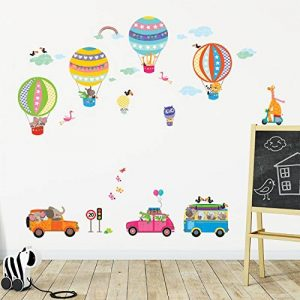 Decowall DAT-1710 Les Transports Voitures Montgolfière Animaux Autocollants Muraux Mural Stickers Chambre Enfants Bébé Garderie Salon de la marque Decowall image 0 produit