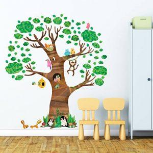 Decowall DL-1709 Arbre Géant Animaux Autocollants Muraux Mural Stickers Chambre Enfants Bébé Garderie Salon de la marque Decowall image 0 produit