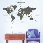 Decowall DLT-1609G Carte du monde Moderne Grise Autocollants Muraux Mural Stickers Chambre Enfants Bébé Garderie Salon (Extra Grande) (Ver anglais) de la marque Decowall image 2 produit