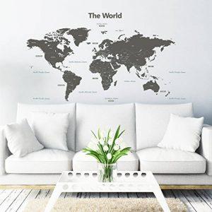 Decowall DLT-1609G Carte du monde Moderne Grise Autocollants Muraux Mural Stickers Chambre Enfants Bébé Garderie Salon (Extra Grande) (Ver anglais) de la marque Decowall image 0 produit