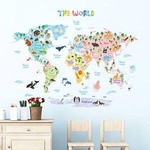 Decowall DLT-1615 Carte du monde Animaux Autocollants Muraux Mural Stickers Chambre Enfants Bébé Garderie Salon (Extra Grand) (Ver anglais) de la marque Decowall image 0 produit