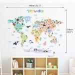 Decowall DLT-1615 Carte du monde Animaux Autocollants Muraux Mural Stickers Chambre Enfants Bébé Garderie Salon (Extra Grand) (Ver anglais) de la marque Decowall image 1 produit